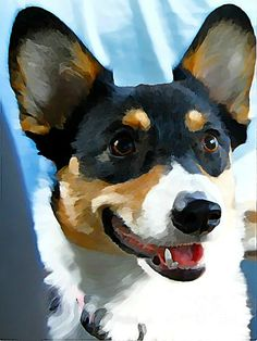 Digital Painting of Pembroke Welsh Corgi  This looks JUST like mine for real!