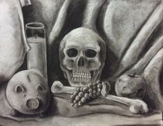 Vanitas still life for my drawing class Charcoal and white chalk on paper Not too happy with how the skull came out. Too cartoony in my opinion. Would've loved to have added detailed textured to it. Constructive criticism please.