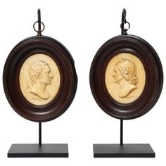 A Pair of 19th Century English Wax Portrait Medallions