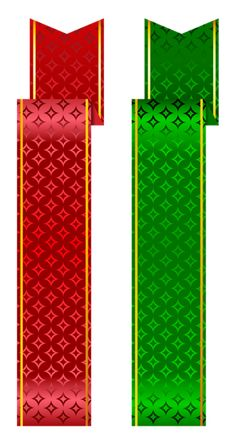 Green and Red Banner Set PNG Clipart