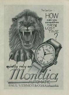 1950+Mondia+Watch+Company+Cave+Lion+Vintage+1950+Swiss+Ad+Suisse+Advert+Horology+Horlogerie