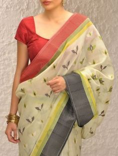 Buy Ivory-Green Handloom Silk Saree by Ekaya Online
