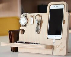 Iphone stand for desk the handmade desk organizer boasts integrated watch stand dock key holder and . iphone stand for desk Christmas Gifts For Men, Best Gifts For Men, Gifts For Husband, Cool Gifts, Gifts For Him, Unique Gifts, Handmade Desks, Handmade Wooden, Organization Station