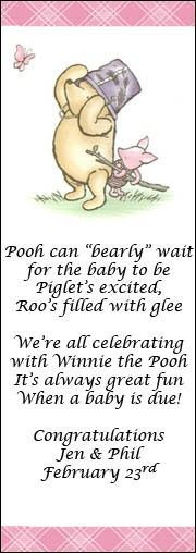 Celebrate one of life's most special occasions with Winnie the Pooh! Your guests will love these unique, Personalized Baby Shower Bookmarks! Give them to family and friends as a one-of-a-kind favor. | Rosemary Company