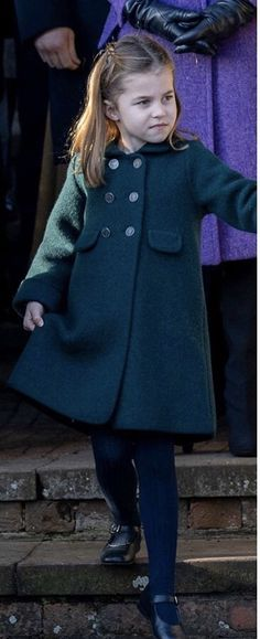 Princess Charlotte joined her big brother, Prince George, and her parents, The Duke and Duchess of Cambridge for the traditional Christmas service at St. Princess Charlotte wore a green Amaia Kids 'Razorbill' wool coat with a ch Duke And Duchess, Duchess Of Cambridge, Very Cute Baby, Queen Kate, Coat Pattern Sewing, Top To Toe, Green Coat, Princess Charlotte, Baby Girl Fashion