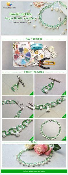DIY necklace with Pandahall Elite bugle beads