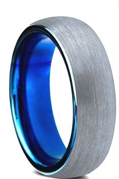 Mens 8mm tungsten wedding band designed with a brushed finish and a high blue polish. I love this mens wedding band!