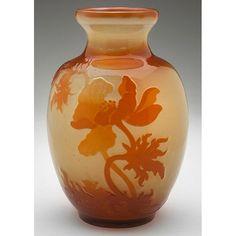 "Emile GALLÉ (1846-1904) Poppy vase, France, cameo cut and fire polished glass, signed, 5""dia x 7.5""h (hva)"