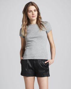 Coated Twill Pleated Shorts by 7 For All Mankind at Neiman Marcus.