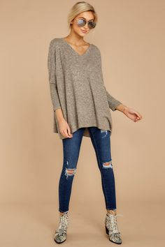 027b81fe Comfy Heather Taupe Oversized Top - Soft Flowy Pullover - Shirt - $42 – Red  Dress