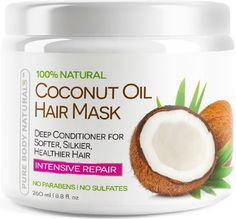 Coconut Oil Hair Mask - Deep Conditioner 100% Cold pressed Coconut Oil for Hair, Argan, Shea Butter & Rosehip Oil - Repair and Moisturize Dry & Damaged or Color Treated hair - all hair types 8.8 Oz