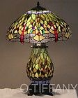 For Sale - Tiffany Sty Stained Glass Lamp Green Dragonfly w/ Lit Base & Tiffany Summer Card