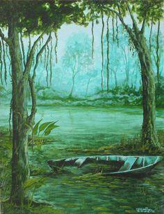 Alagada, (2002) Óleo sobre Tela de Jeriel. Dimensões: 30 x 40 cm. Coleção Particular - AP.