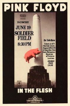 Reprodução do poster do concerto de Pink Floyd no Soldier Field, em Chicago.  Pink Floyd - Chicago 1977