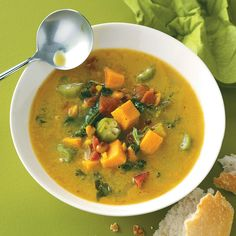 Caribbean Potato Soup Recipe -Interesting veggies including okra, kale and black-eyed peas go into this bright and hearty soup. No kale on hand? Use spinach instead. —Crystal Jo Bruns, Iliff, Colorado