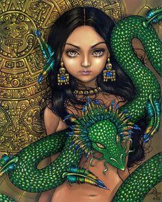 Aztec /Mayan Art - Priestess of Quetzalcoatl ~ by Jasmine Becket-Griffith