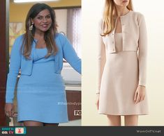 Mindy's baby blue quilted dress and cardigan set on The Mindy Project.  Outfit Details: http://wornontv.net/47209/ #TheMindyProject