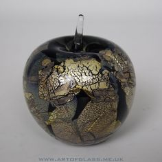 Isle of Wight Studio Glass Azurene Black large apple paperweight