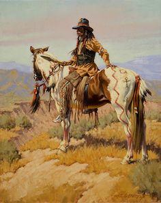 "Cheyenne Scout by Edward Holmes Oil ~ 20"" x 16"""