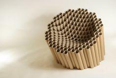 reciclar tubos de cartón en un sillón