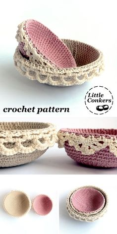 Crochet pattern for nesting bowls with lace edging detail. Romantic in pastel colours, you can make these the size of your choice and match them to your decor.