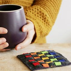 Easy woven felt coasters you can make with the kids.