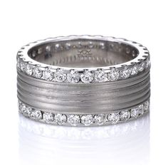 Nice texture-  wide diamond eternity ring from Lieberfarb.