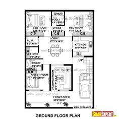 House Plan for 35 Feet by 50 Feet plot (Plot Size 195 Square Yards) 2bhk House Plan, 3d House Plans, Indian House Plans, Simple House Plans, Model House Plan, House Blueprints, Home Map Design, Home Design Floor Plans, Duplex House Design