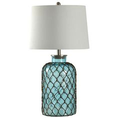 Shop for Montego Bay Blue Seeded Glass Table Lamp - Off-white Hardback Fabric Shade. Get free delivery On EVERYTHING* Overstock - Your Online Lamps & Lamp Shades Store! Get in rewards with Club O! Blue Table Lamp, Table Lamp Sets, Diy Bottle Lamp, Theoule Sur Mer, Make A Lamp, Coastal Bedrooms, Coastal Decor, Coastal Living, Coastal Cottage