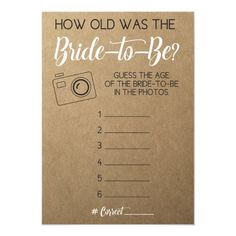 Bridal Shower Game- Guess Bride's Age from Photo Invitation Fun Bridal Shower Games, Bridal Shower Planning, Bridal Games, Unique Bridal Shower, Bridal Shower Party, Bridal Shower Invitations, Bridal Shower Checklist, Couples Wedding Shower Games, Couple Shower Games
