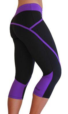 The Elite Capri - Black & Purple Waistband Womens Workout Outfits, Sport Outfits, Cute Outfits, Workout Attire, Workout Wear, Athletic Outfits, Athletic Wear, Sport Fashion, Fitness Fashion