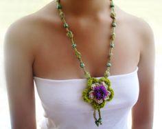 Boho necklace Bohemian jewelry Unique necklaces for women Unusual necklace Crochet pendant