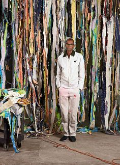Bradford, with a work in progress, at his studio, in South Los Angeles.