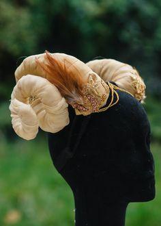 Dazzling Gold Ram Horns Headdress for by WeCreaturesCostume