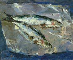 Fresh Sardines by Jane Corsellis Art Journal Inspiration, Painting Inspiration, Watercolor Animals, Watercolor Art, Great Paintings, Fish Paintings, Jellyfish Art, Gauguin, Sea Life Art