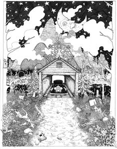 Christmas Land pen and ink illustration PRINT various sizes available Joe Hill Stephen King Covered Bridge Christmas goblins slayride by WyldTrees on Etsy Nos4a2, Stephen King Books, Never Grow Up, Stars At Night, Ink Illustrations, Covered Bridges, Goblin, Fairy Tales, Horror