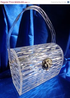 ON SALE Vintage WILARDY Clear Carved Lucite Purse by RememberMaMa
