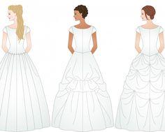 3 different examples of ways to bustle a wedding dress http://www.helpmefindaweddingdress.com/components-of-a-wedding-dress/best-types-of-bustle-for-my-wedding-dress/