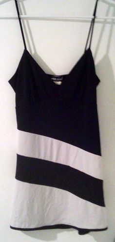 Ladies Med WET SEAL Black & White Long Spaghetti Strap Tank Top #WetSeal #TankCami #EveningOccasion $4.99 @Ebay