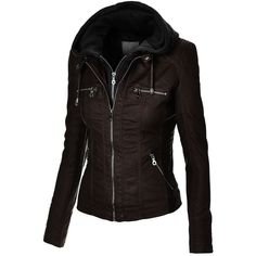 MBJ Womens Faux Leather Zip Up Moto Jacket With Hoodie and other apparel, accessories and trends. Browse and shop 29 related looks.
