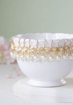 Gold Orchid Flower Round Cream White Pearl Bridal by LeChaim