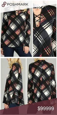 Coming soon! Plaid long sleeve flowy top Features choker neck with chic plaid design. 96% polyester, 4% spandex. Unity Blend Tops Tunics