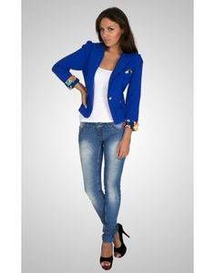 Cropped Jacket with Contrast Sleeves