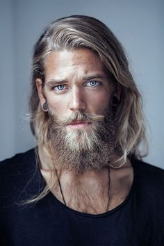 long blond hair, steely eyes, beard...perfect