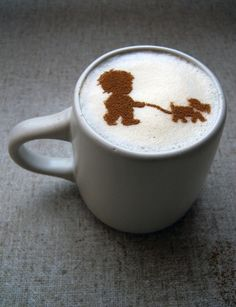 A great little reminder that I need to take the dog out for a walk. #CoffeeArt