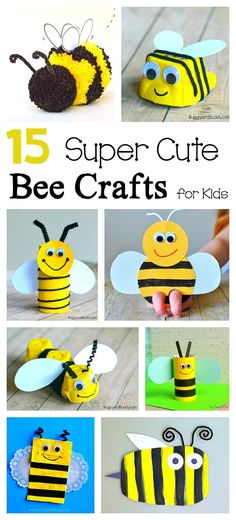 15 Super Cute Bee Crafts for Kids: Including egg carton bee craft, cardboard tube bee craft, bee finger puppet, paper bag bee craft and more! Great for preschool and kindergarten!