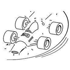 f1 race car connect dot to dot coloring sheet printable