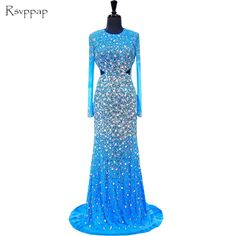 Long Evening Dress 2017 Mermaid O-neck Long Sleeve Beaded Crystals Backless Luxury Blue Women Formal Evening Gowns. Yesterday's price: US $315.00 (255.62 EUR). Today's price: US $245.70 (199.39 EUR). Discount: 22%.