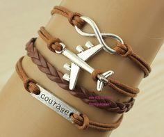 Infinity Bracelet  courage bracelet with plane by themagicbracelet, $3.59