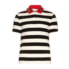 a622cd5dc1bb6a Gucci Snake-appliqué cotton polo shirt (52770 RSD) ❤ liked on Polyvore  featuring · Slim Fit Polo ShirtsStriped ...
